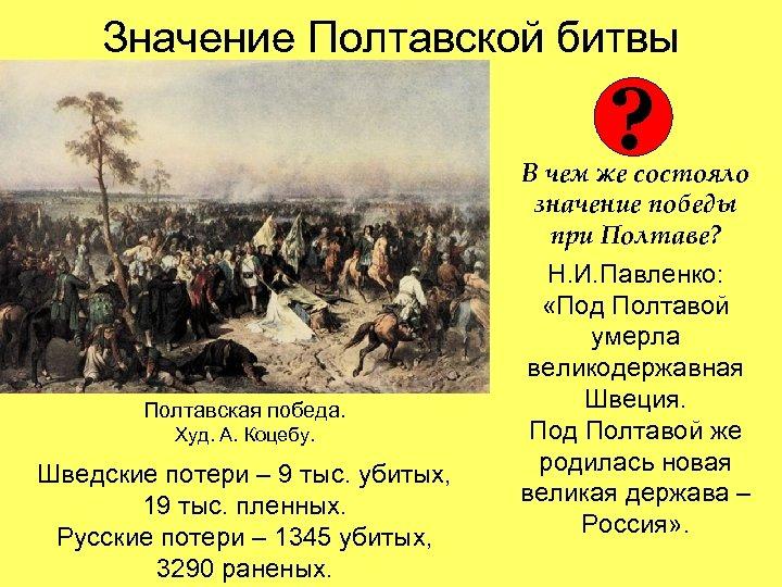 Значение Полтавской битвы ? Полтавская победа. Худ. А. Коцебу. Шведские потери – 9 тыс.