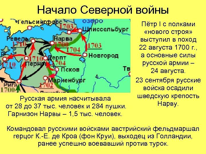 Начало Северной войны Русская армия насчитывала от 28 до 37 тыс. человек и 284