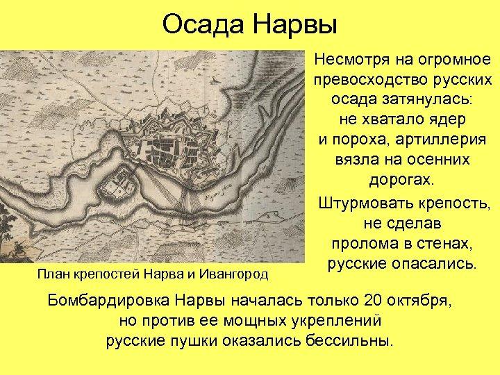 Осада Нарвы План крепостей Нарва и Ивангород Несмотря на огромное превосходство русских осада затянулась: