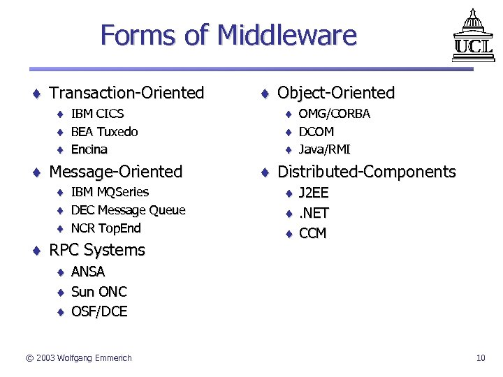 Forms of Middleware ¨ Transaction-Oriented ¨ IBM CICS ¨ BEA Tuxedo ¨ Encina ¨