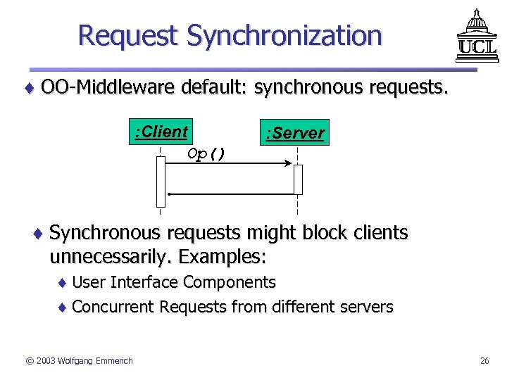 Request Synchronization ¨ OO-Middleware default: synchronous requests. : Client Op() : Server ¨ Synchronous