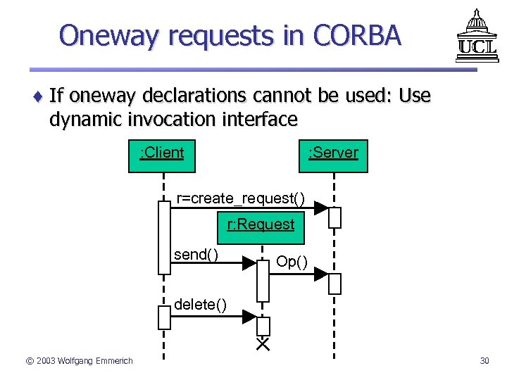 Oneway requests in CORBA ¨ If oneway declarations cannot be used: Use dynamic invocation