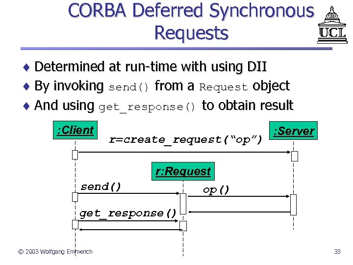 CORBA Deferred Synchronous Requests ¨ Determined at run-time with using DII ¨ By invoking