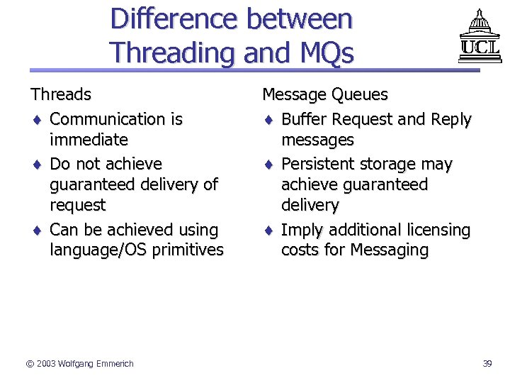 Difference between Threading and MQs Threads ¨ Communication is immediate ¨ Do not achieve