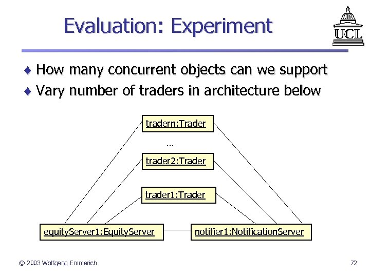 Evaluation: Experiment ¨ How many concurrent objects can we support ¨ Vary number of