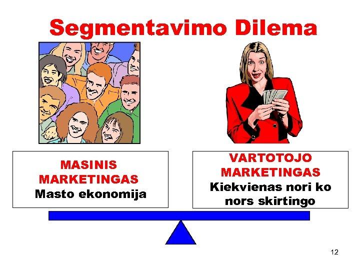 Segmentavimo Dilema MASINIS MARKETINGAS Masto ekonomija VARTOTOJO MARKETINGAS Kiekvienas nori ko nors skirtingo 12