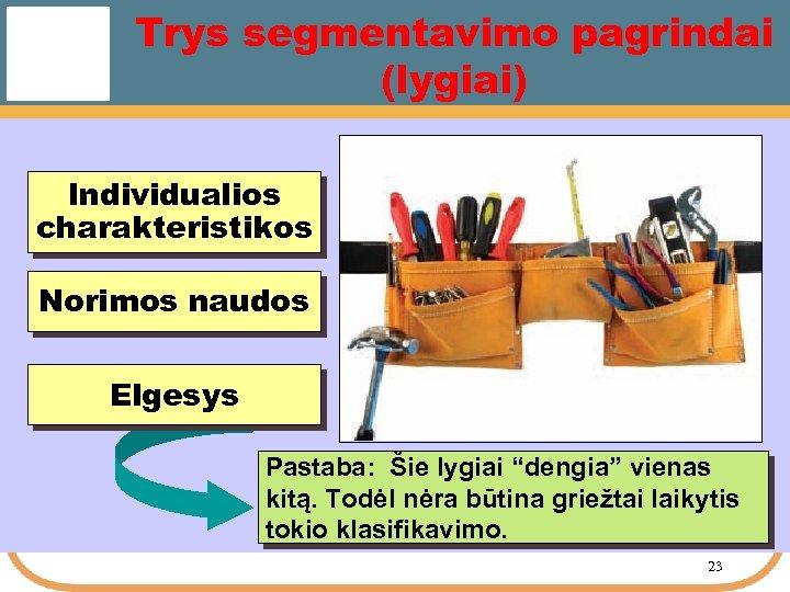 """Trys segmentavimo pagrindai (lygiai) Individualios charakteristikos Norimos naudos Elgesys Pastaba: Šie lygiai """"dengia"""" vienas"""