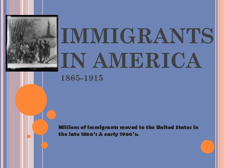 IMMIGRANTS IN AMERICA 1865 -1915 Millions of immigrants moved to the United States in