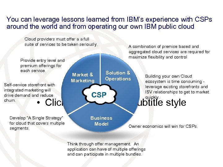 You can leverage lessons learned from IBM's experience with CSPs around the world and