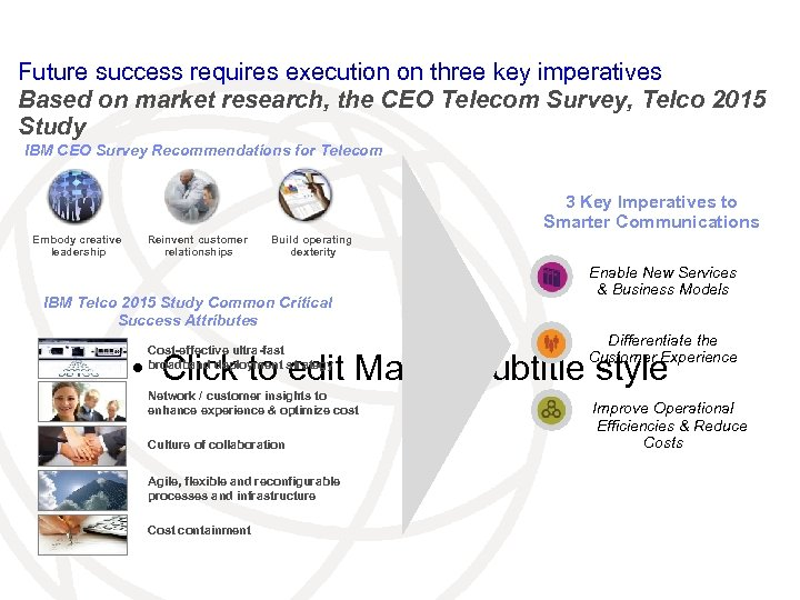 Future success requires execution on three key imperatives Based on market research, the CEO