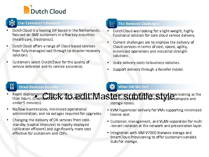 Our Customer's Business • Dutch. Cloud is a leading ISP based in the Netherlands,