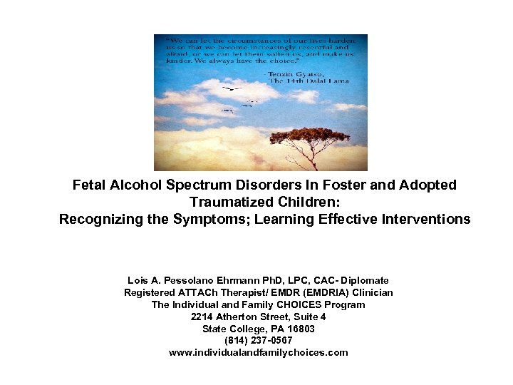 Fetal Alcohol Spectrum Disorders In Foster and Adopted Traumatized Children: Recognizing the Symptoms; Learning