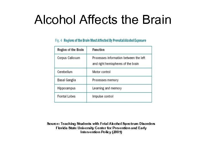 Alcohol Affects the Brain Source: Teaching Students with Fetal Alcohol Spectrum Disorders Florida State
