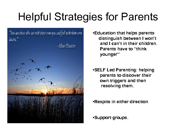 Helpful Strategies for Parents • Education that helps parents distinguish between I won't and
