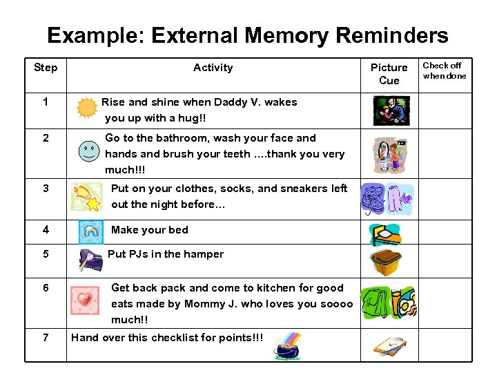 Example: External Memory Reminders Step Activity 1 Rise and shine when Daddy V. wakes