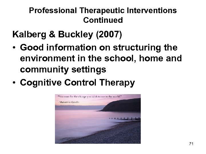 Professional Therapeutic Interventions Continued Kalberg & Buckley (2007) • Good information on structuring the