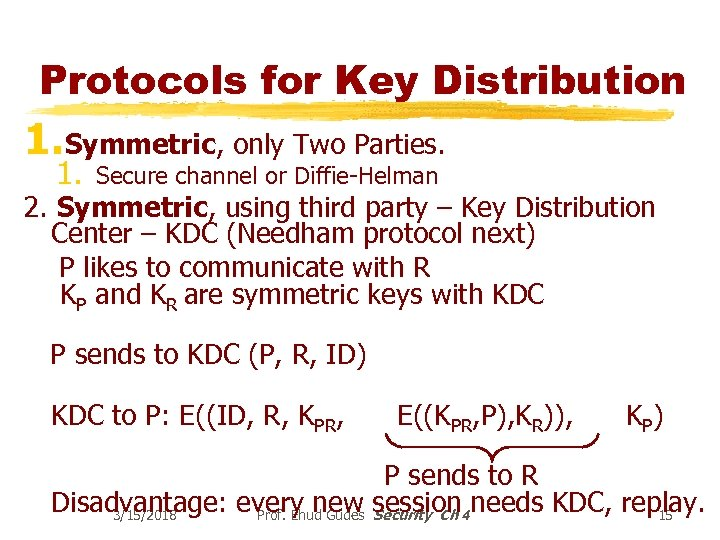 Protocols for Key Distribution 1. Symmetric, only Two Parties. 1. Secure channel or Diffie-Helman