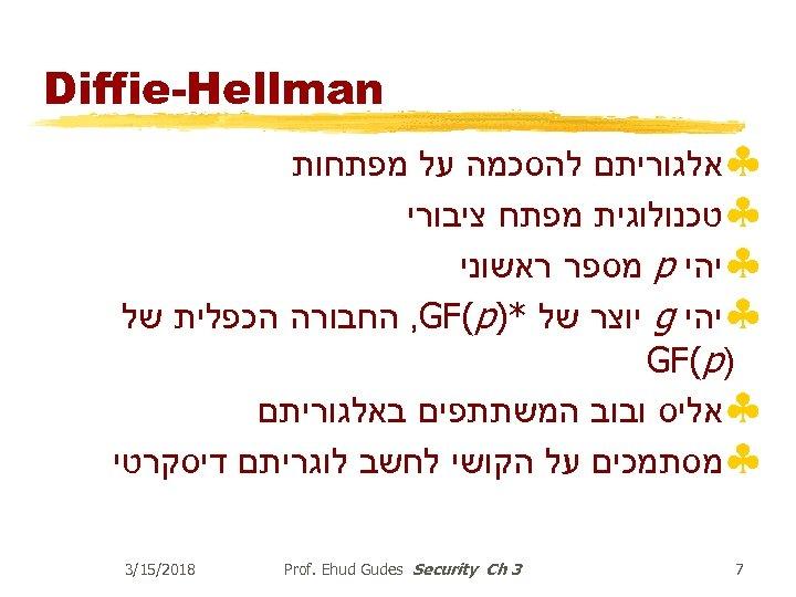 Diffie-Hellman §אלגוריתם להסכמה על מפתחות §טכנולוגית מפתח ציבורי §יהי p מספר ראשוני §יהי