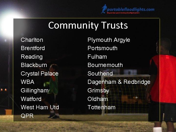 Community Trusts Charlton Brentford Reading Blackburn Crystal Palace WBA Gillingham Watford West Ham Utd