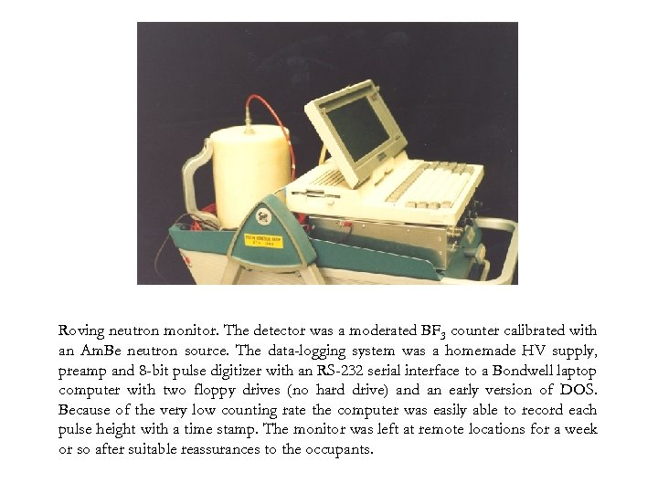 Roving neutron monitor. The detector was a moderated BF 3 counter calibrated with an