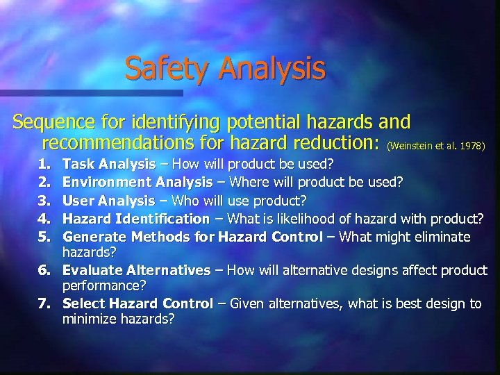 Safety Analysis Sequence for identifying potential hazards and recommendations for hazard reduction: (Weinstein et