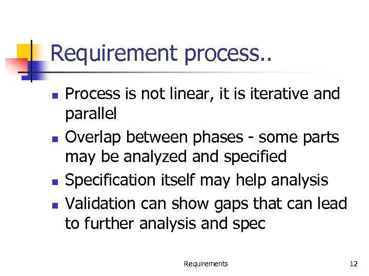 Requirement process. . n n Process is not linear, it is iterative and parallel