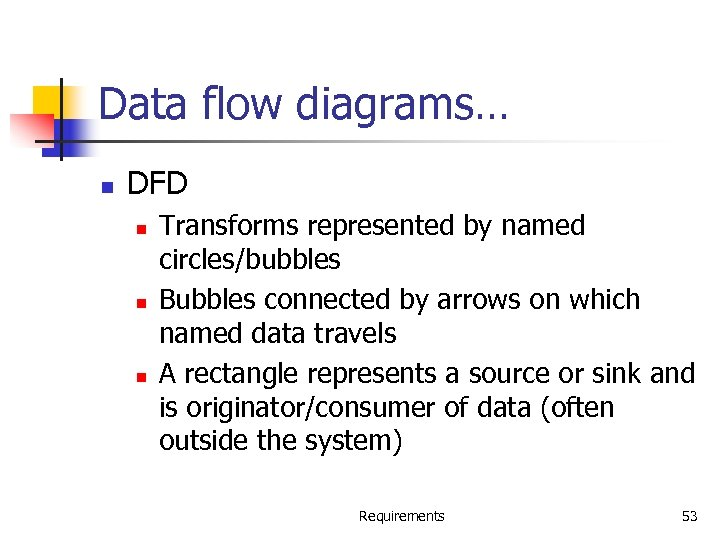 Data flow diagrams… n DFD n n n Transforms represented by named circles/bubbles Bubbles