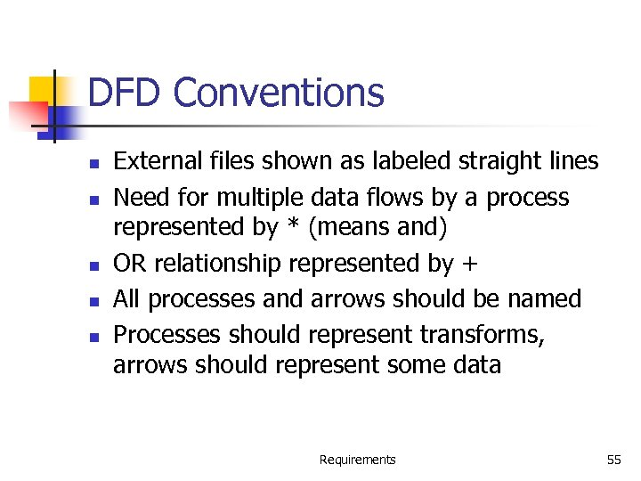 DFD Conventions n n n External files shown as labeled straight lines Need for