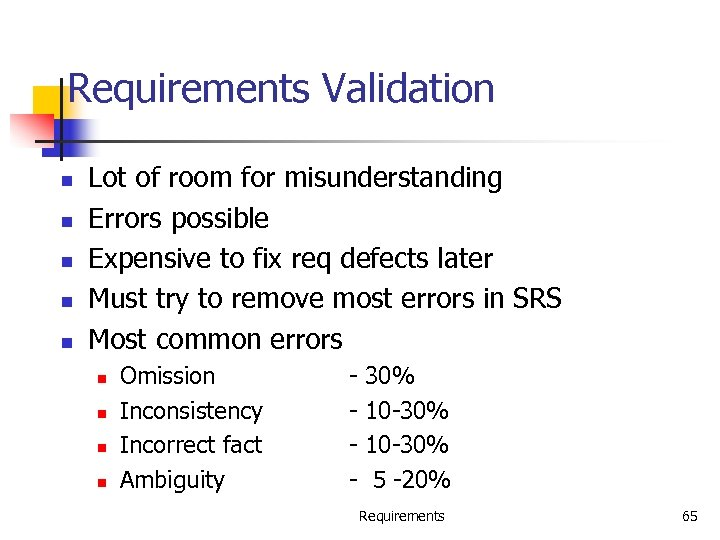 Requirements Validation n n Lot of room for misunderstanding Errors possible Expensive to fix