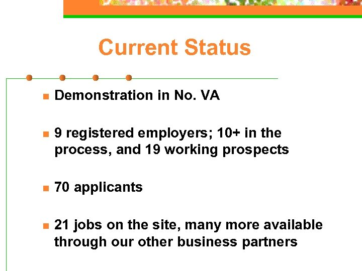 Current Status n Demonstration in No. VA n 9 registered employers; 10+ in the