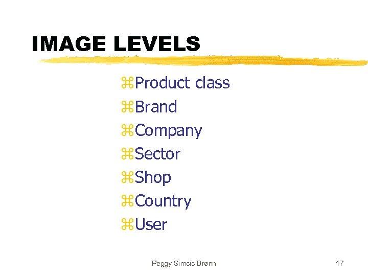 IMAGE LEVELS z. Product class z. Brand z. Company z. Sector z. Shop z.