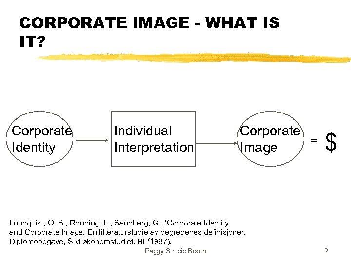 CORPORATE IMAGE - WHAT IS IT? Corporate Identity Individual Interpretation Corporate = Image $
