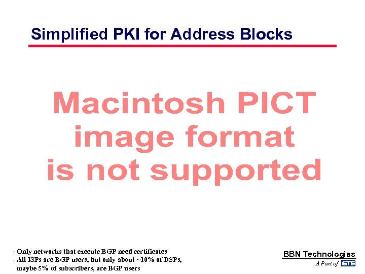 Simplified PKI for Address Blocks - Only networks that execute BGP need certificates -