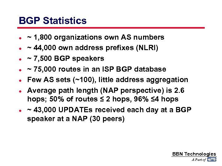 BGP Statistics l l l l ~ 1, 800 organizations own AS numbers ~