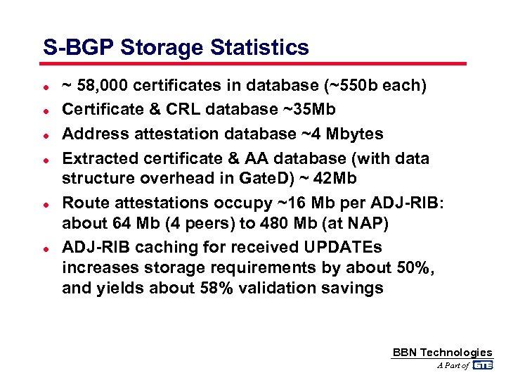 S-BGP Storage Statistics l l l ~ 58, 000 certificates in database (~550 b