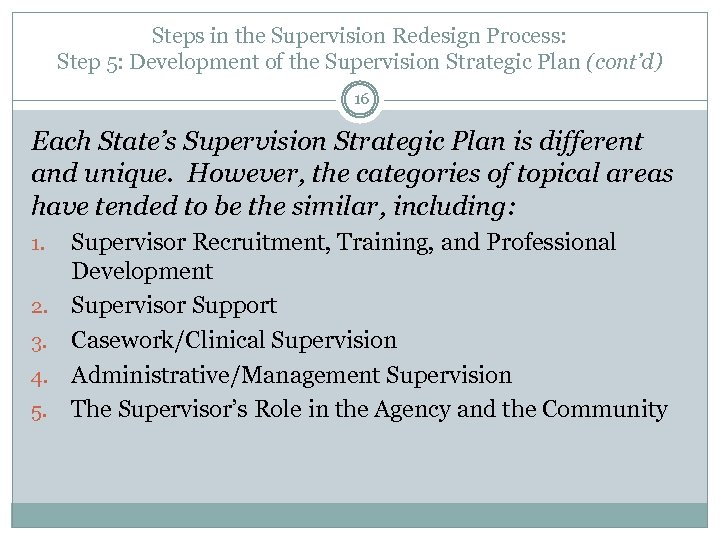 Steps in the Supervision Redesign Process: Step 5: Development of the Supervision Strategic Plan