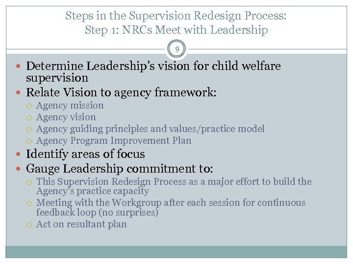 Steps in the Supervision Redesign Process: Step 1: NRCs Meet with Leadership 9 Determine