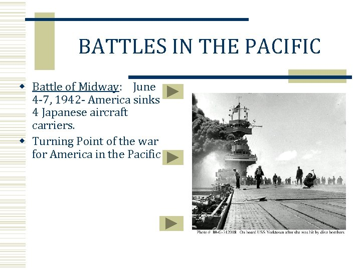 BATTLES IN THE PACIFIC w Battle of Midway: June 4 -7, 1942 - America