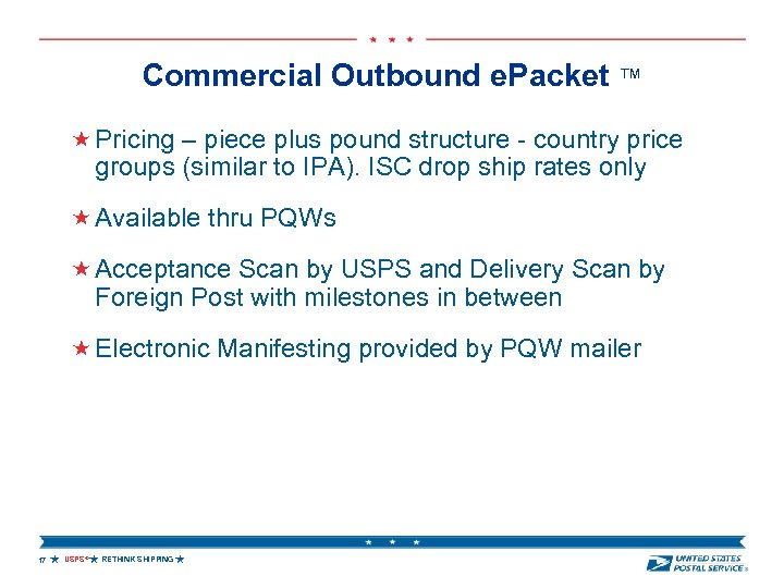 Commercial Outbound e. Packet ™ Pricing – piece plus pound structure - country price