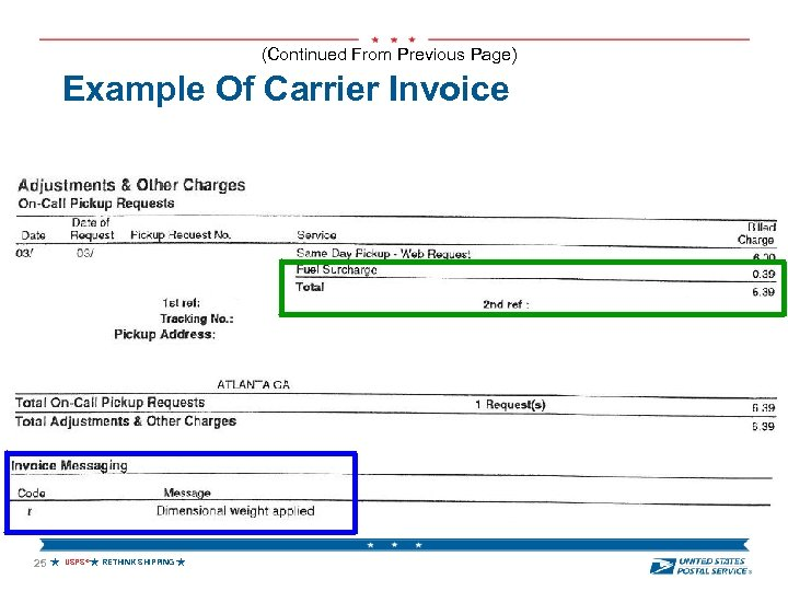(Continued From Previous Page) Example Of Carrier Invoice 25 USPS® RETHINK SHIPPING
