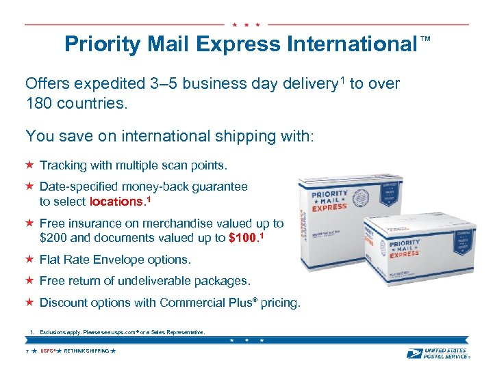 Priority Mail Express International™ Offers expedited 3– 5 business day delivery 1 to over