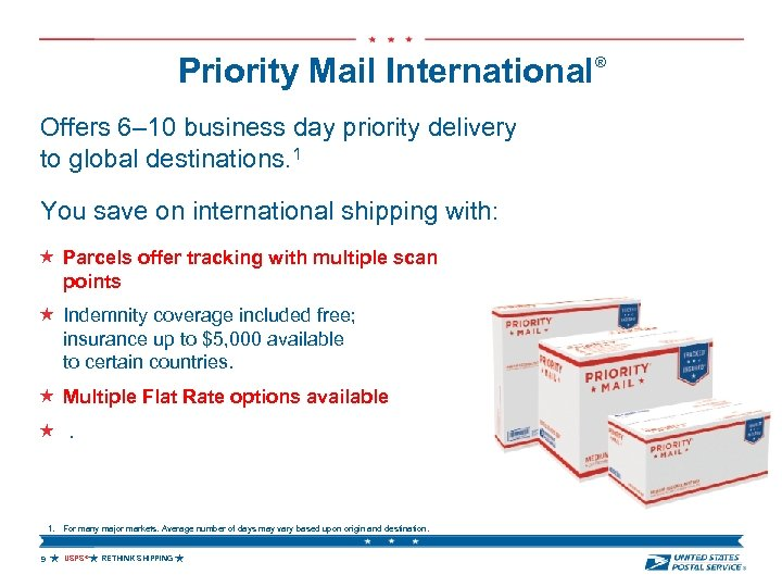 Priority Mail International® Offers 6– 10 business day priority delivery to global destinations. 1