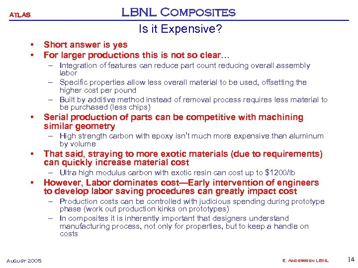 ATLAS • • LBNL Composites Is it Expensive? Short answer is yes For larger