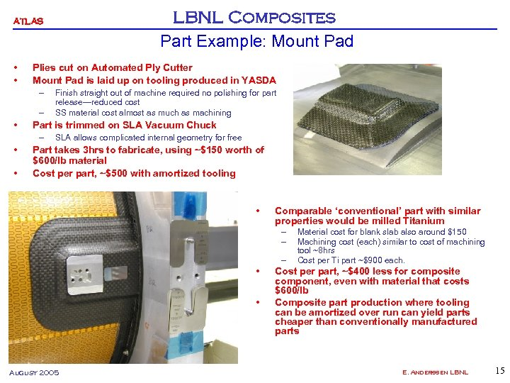 LBNL Composites Part Example: Mount Pad ATLAS • • Plies cut on Automated Ply