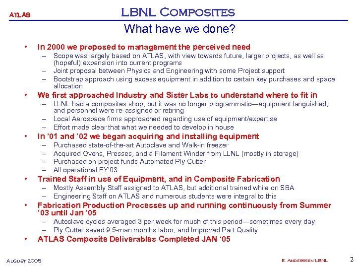 LBNL Composites What have we done? ATLAS • In 2000 we proposed to management