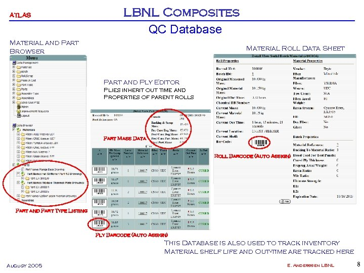 ATLAS LBNL Composites QC Database Material and Part Browser Material Roll Data Sheet Part