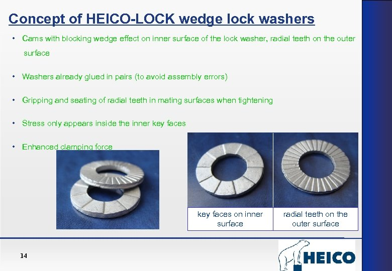 Concept of HEICO-LOCK wedge lock washers • Cams with blocking wedge effect on inner