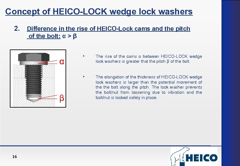 Concept of HEICO-LOCK wedge lock washers 2. Difference in the rise of HEICO-Lock cams