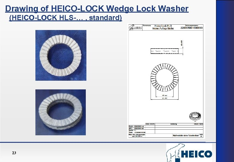 Drawing of HEICO-LOCK Wedge Lock Washer (HEICO-LOCK HLS-… , standard) 23