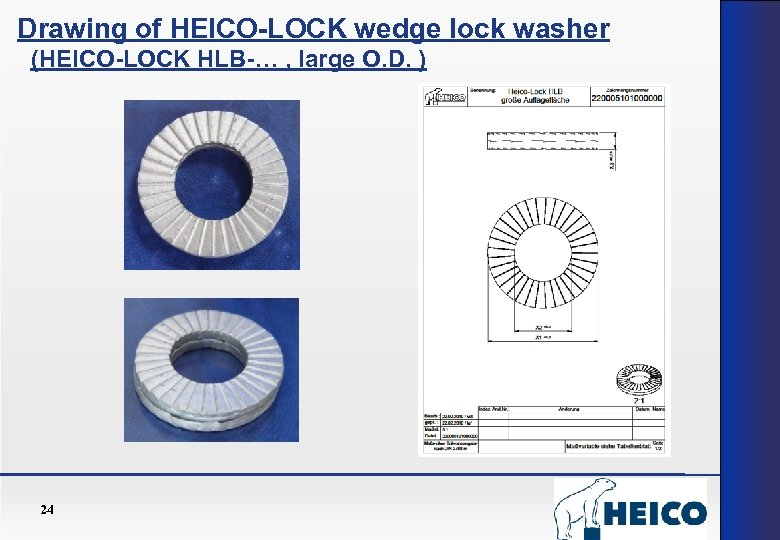 Drawing of HEICO-LOCK wedge lock washer (HEICO-LOCK HLB-… , large O. D. ) 24